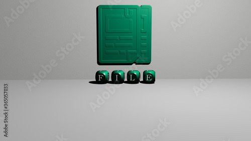 3D representation of file with icon on the wall and text arranged by metallic cubic letters on a mirror floor for concept meaning and slideshow presentation Wallpaper Mural