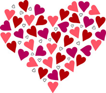 Set Of Small Hand Drawn Vector Hearts In Shape Of Heart. Pink, Red And Brown Hearts On White Background. Perfect For St.Valentine's Card Or Romantic Poster.