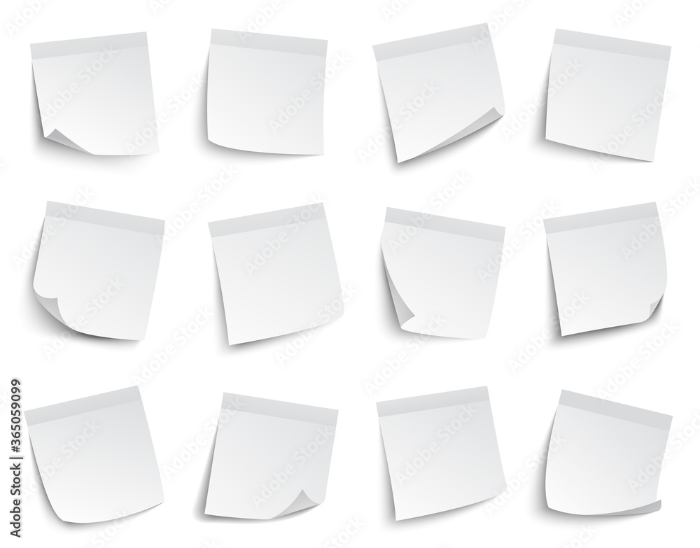 Fototapeta Note paper stickers. White blank memo paper notes, sticky paper sheets, business post-it notes vector illustration set. Paper note sticker blank to office post reminder