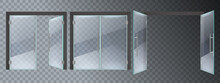 Realistic Glass Door. Entrance...