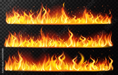 Obraz Realistic flame borders. Burning horizontal fire flame, red burning blaze border, fiery burning line isolated vector illustration set. Realistic fire light, bonfire flame inferno - fototapety do salonu