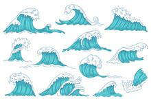 Sea Waves. Ocean Hand Drawn Wa...