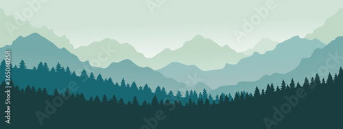 Fototapeta Mountains panorama. Forest mountain range landscape, blue mountains n twilight, camping nature landscape silhouette vector illustration. Forest range landscape, panorama silhouette hill obraz