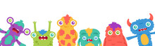 Cartoon Monsters Background. Halloween Cartoon Cute Monster Mascots, Fluffy Creature, Funny Alien Greeting Card Or Banner Vector Illustration. Face Gremlin Halloween With Teeth And Horns
