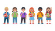 Group of school children. Happy kids. Cute vector illustration in flat style