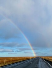 Rainbow Over Open Road - Iceland