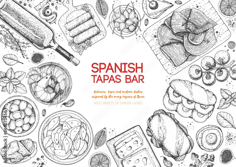 Fototapeta Spanish tapas, top view frame. A set of spanish dishes with bocadillo, jamon, patatas bravas, tapas. Food menu design template. Vintage hand drawn sketch vector illustration. Engraved image.