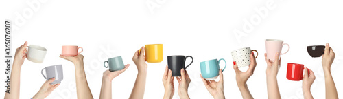 Foto Collage with photos of people holding different cups on white background, closeup