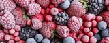 Fototapeta Kawa jest smaczna - Mix of different frozen berries as background, banner design