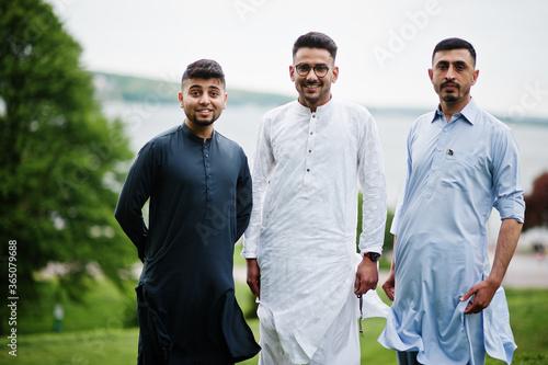 Group of pakistani man wearing traditional clothes salwar kameez or kurta Canvas Print