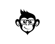 Cool Monkey With Eyeglasses Silhouette