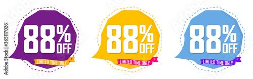 Tablou Canvas Set Sale 88% off speech bubble banners, discount tags design template, final off