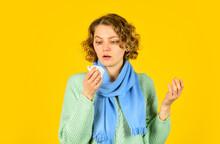 Sick Woman Sneezing At Home. H...