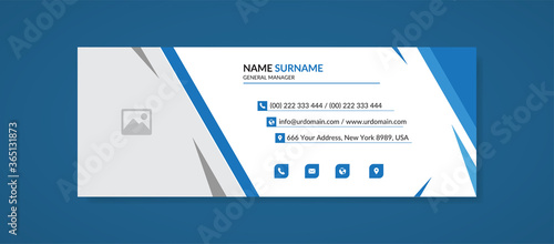 corporate creative email signature template with an author photo place modern la Canvas