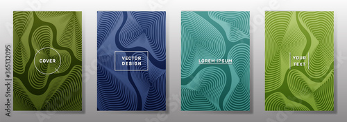 Fotografie, Obraz Curve topography lines imitation creative vector covers set.