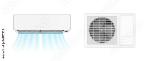 Air conditioner handing on wall and conditioning ventilator on window. Vector realistic mockup of split system for climate control with cold wind flows. Aircon isolated on white background