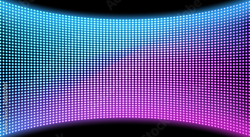 Obraz LED video wall screen texture background, blue and purple color light diode dot grid concave tv panel, lcd display with pixels pattern, television digital monitor, Realistic 3d vector illustration - fototapety do salonu