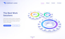 The Best Work Solutions Isometric Landing Page, Engine Gears, Cogwheels Mechanism Working Process, Teamwork Cooperation, Company Strategy Or Innovative Idea Development Concept, 3d Vector Web Banner