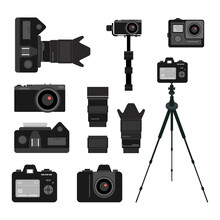 Set Of Black Camera Accessory Icons On White Background. Photography Equipment Flat Vector Illustrations. Camera, Camera Lenses And Tripods. Photographer, Cameraman Tools Concept
