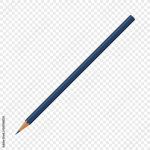 Single blue isolated crayon pencil on transparent background Canvas Print