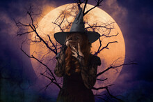 Scary Halloween Witch Standing...