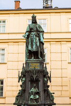 Statue Of Charles IV, Holy Roman Emperor, At Krizovnicke Square In Prague, Czech Republic