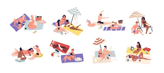 Various sunbathing people on summer beach vacation. Set of different couples doing yoga, lying, chilling, relaxing. Summertime lounge in flat vector illustration isolated on white background
