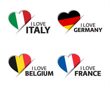 Set Of Four Italian, German, Belgian And French Heart Shaped Stickers. I Love Italy, Germany, Belgium And France. Made In Italy, Made In Germany. Simple Icons With Flags Isolated On A White Background