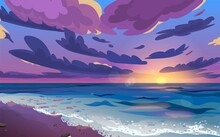 Sunset Or Sunrise, Dawn At Sea...