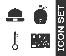 Set Folded Map With Location, Beanie Hat, Meteorology Thermometer And Canteen Water Bottle Icon. Vector.