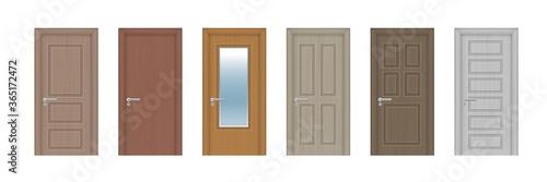 Fotografie, Obraz Vector set. Six wooden realistic doors of different designs.