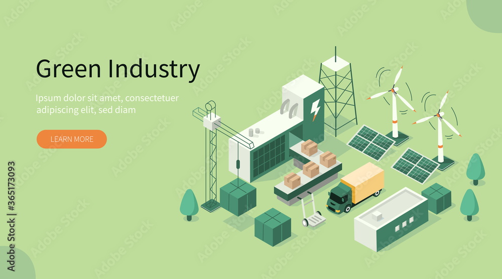 Fototapeta Green Industrial Factory with Renewable Energy. Wind Electricity Generators and Solar Panels. Eco Power Station. Eco Industrial Development Concept. Flat Isometric Vector Illustration.