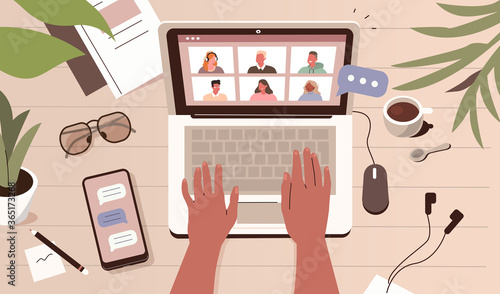 Business Person working Remote at Home and using Laptop for Video Meeting with Colleagues. People Characters Talking Online. Video Conference Concept. Flat Cartoon Vector Illustration.