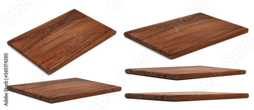 Wooden chopping Board isolated on white. Set of Cutting Boards in different angles shots in collage for your design. Wood kitchen board rectangle form.