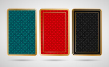 Three Poker Playing Cards Back Side Design - Black, Turquoise, Red And Golden Colored