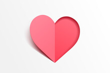 Paper Art Of Red Heart, People Relationship And Valentine's Day Celebrate Concept