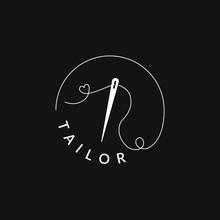 Simple Tailor Logo Design. Minimal Logotype Template For Branding. Sew Needle Sign Vector Illustration