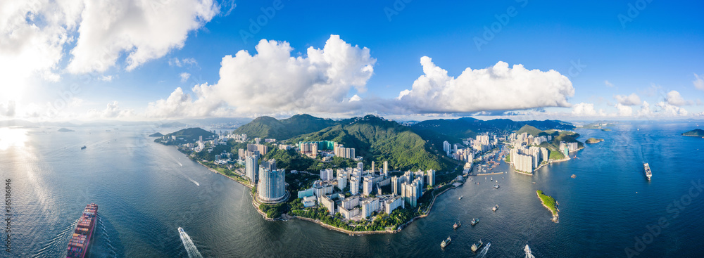 Fototapeta Aerial view of South side of Hong Kong Island, Daytime
