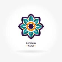 Flower Pink, Blue Logo Circula...