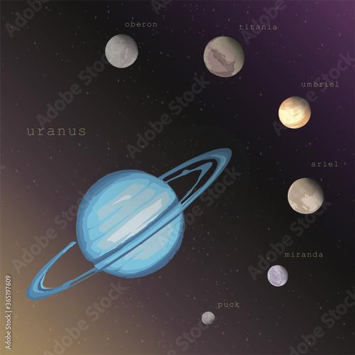 Photo uranus planet with moons satellites Puck Miranda Ariel Umbriel Titania Oberon on the deep dark starry cosmic background