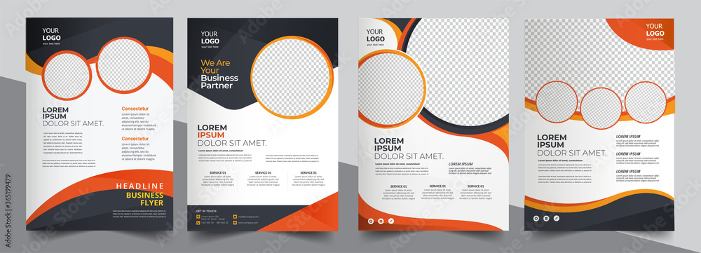 Fototapeta Brochure design, cover modern layout, annual report, poster, flyer in A4 with colorful triangles
