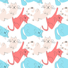Vector Seamless Pattern With Abstract Stylized Cats. Cats Sleep In Different Poses On A White Background.