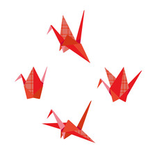 Red Paper Bird Crane Illustration Set
