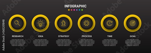 Concept of arrow business model with 6 successive isometric steps Fototapet