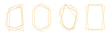 Set Of Golden Geometric Frames In Art Deco Style. Luxury Gold Frames Or Borders For Wedding Invitations And Wedding Cards. Abstract Geometric Shapes