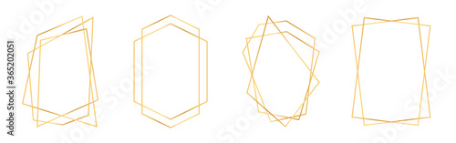 Obraz Set of golden geometric frames in art deco style. Luxury gold frames or borders for wedding invitations and wedding cards. Abstract geometric shapes - fototapety do salonu