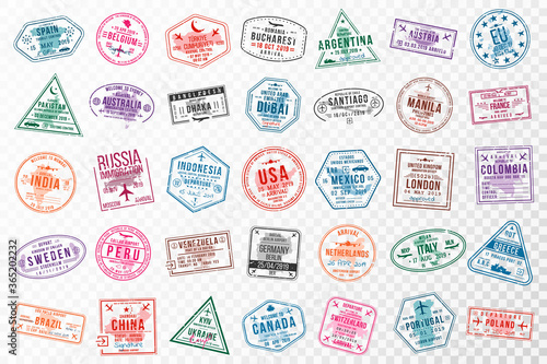 Fototapeta Set of travel visa stamps for passports. Abstract international and immigration office stamps. Arrival and departure visa stamps to Europe, America, Asia and Australia obraz