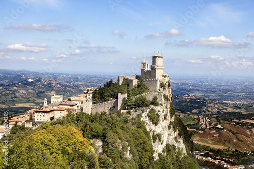 August 2019 - Republic of San Marino - the historic center of the city of San Marino and Mount Titano have been registered by UNESCO - view of the Castell