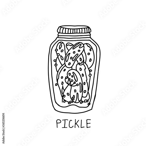 Valokuva Glass jar of marinated pickles vector icon
