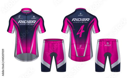 Cycling Jerseys mockup,t-shirt sport design template,uniform for bicycle apparel Fotobehang